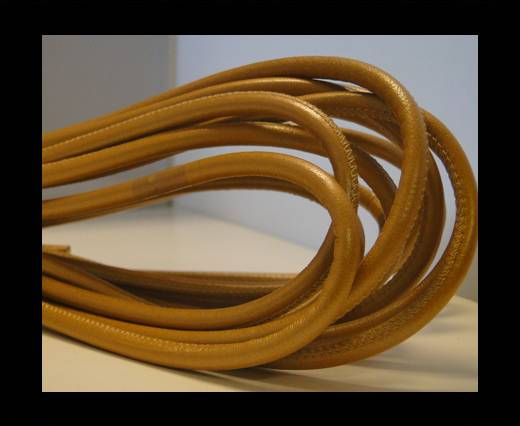 Buy Round stitched nappa leather cord Light Vintage Brown-4mm at wholesale prices