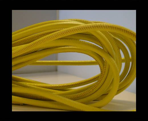 Buy Round stitched nappa leather cord Light Yellow-4mm at wholesale prices