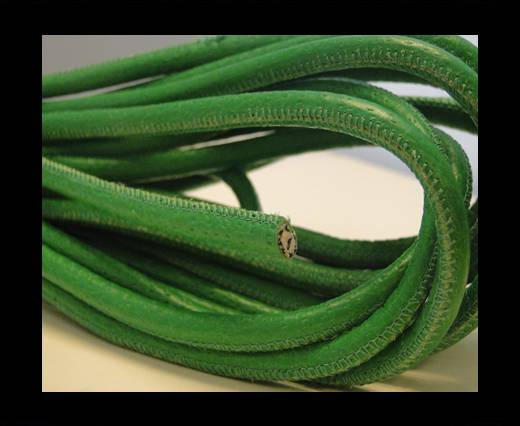 Buy Round stitched nappa leather cord Moss green-4mm at wholesale prices