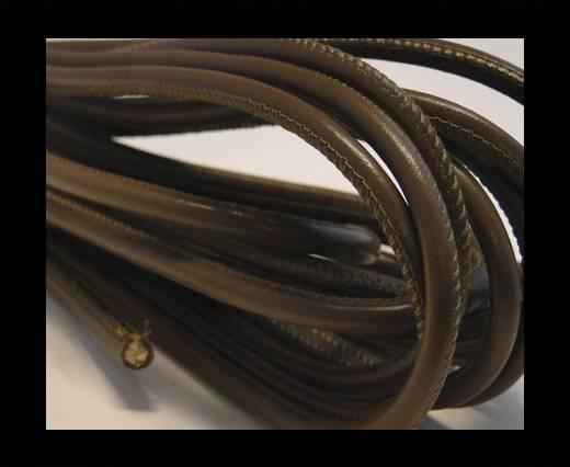 Round stitched nappa leather cord Brown Dark Grey-6mm