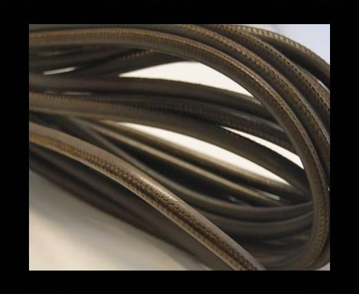 Round stitched nappa leather cord Brown Grey Dark-6mm