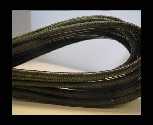 Round stitched nappa leather cord Dark Forest Green-6mm