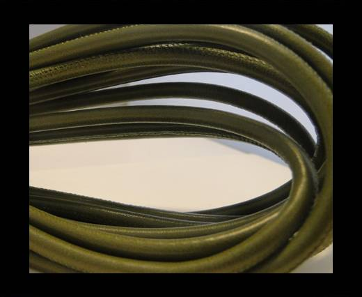 Round stitched nappa leather cord Olive Green-6mm