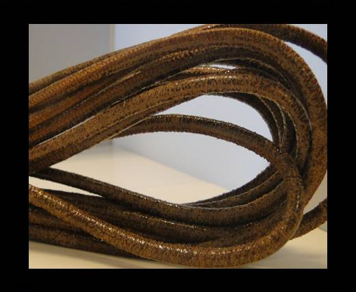 Buy Round stitched nappa leather cord Vintage Brown-4mm at wholesale prices