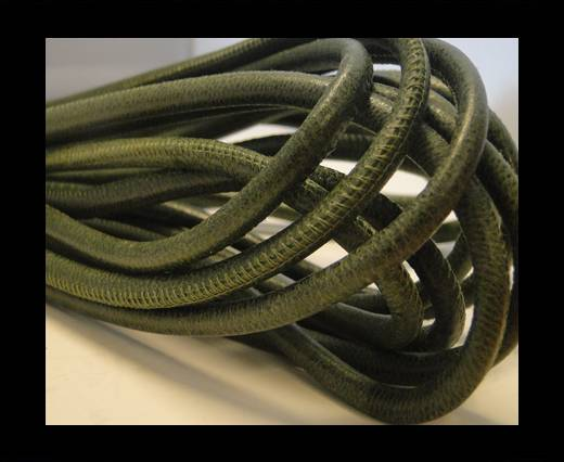 Buy Round stitched nappa leather cord Vintage Green-4mm at wholesale prices