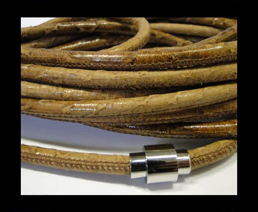 Buy Round stitched leather cord Snake Skin Light Brown-6mm at wholesale prices