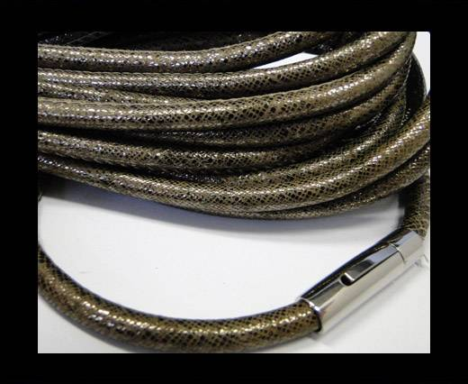 Buy Round stitched leather cord Snake Skin Bronze -6mm at wholesale prices