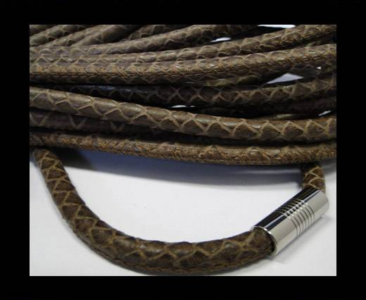 Buy Real Nappa Round-Snake Skin Dark brown1-6mm at wholesale prices