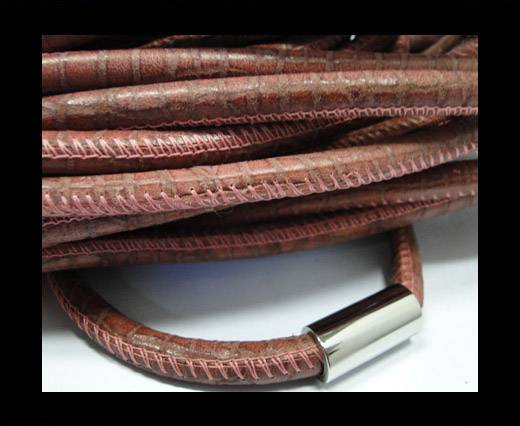 Buy Round stitched leather cord Snake Skin Light Red-6mm at wholesale prices