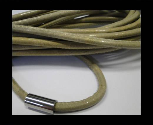 Round stitched nappa leather cord Antique gold-6mm