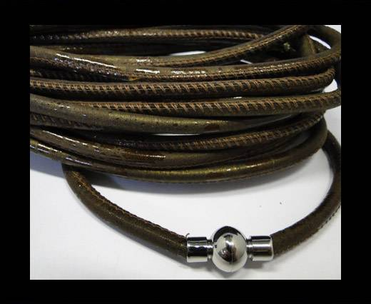 Round stitched nappa leather cord Brown -6mm