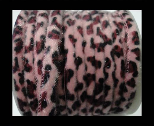 Buy faux nappa leather 6mm Snake-Style-Fur Cords - Pink at wholesale prices