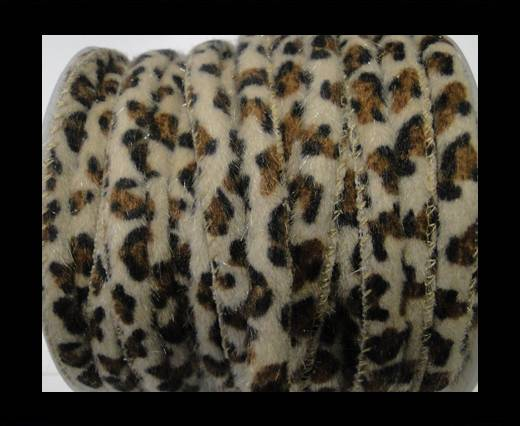faux nappa leather 6mm Snake-Style-Fur Cords - White and Brown