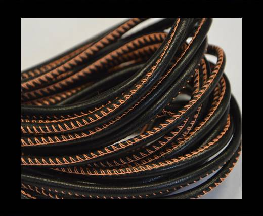 Buy Round stitched nappa leather cord Black-orange-4mm at wholesale prices