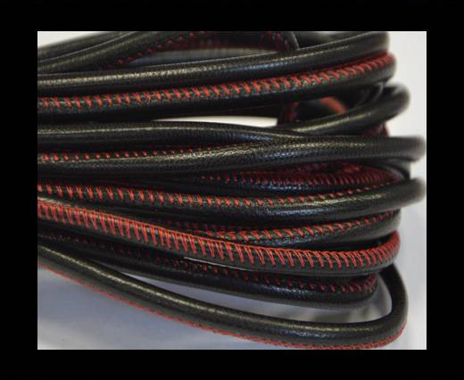 Buy Round stitched nappa leather cord Black-red-4mm at wholesale prices