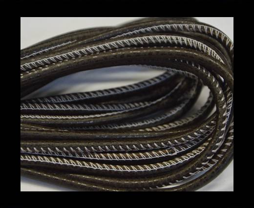 Buy Round stitched nappa leather cord Dark brown-white-4mm at wholesale prices