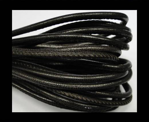 Buy Round stitched nappa leather cord 4mm-Dark brown at wholesale prices