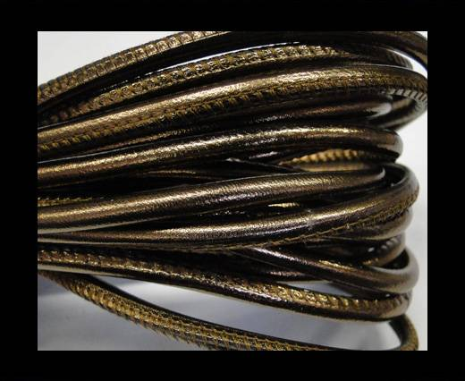 Buy Round stitched nappa leather cord 4mm- Metallic bronze at wholesale prices