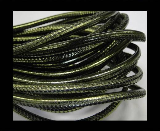 Buy Round stitched nappa leather cord 4mm-Metallic green at wholesale prices