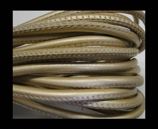 Buy Round stitched nappa leather cord 4mm-Metallic ivory at wholesale prices