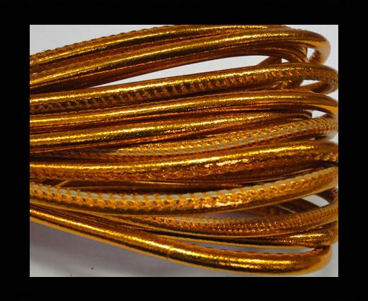 Buy Round stitched nappa leather cord 4mm-Metallic orange at wholesale prices