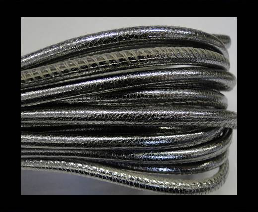 Buy Round stitched nappa leather cord 4mm-Metallic silver at wholesale prices