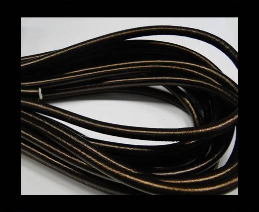 Round stitched nappa leather cord 6mm-Metallic Bronze