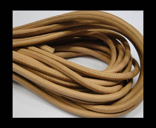 Round stitched nappa leather cord 6mm-Salmon