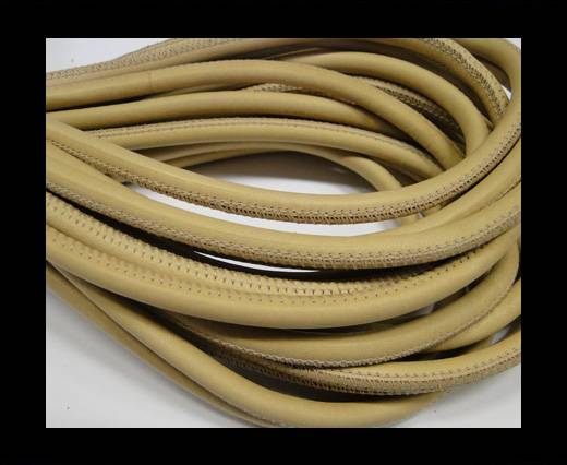 Round stitched nappa leather cord 6mm-Sand