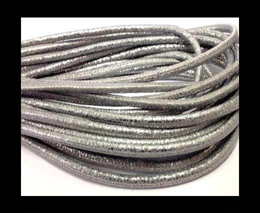 Buy Round stitched nappa leather cord Crack Dark Silver-4mm at wholesale prices