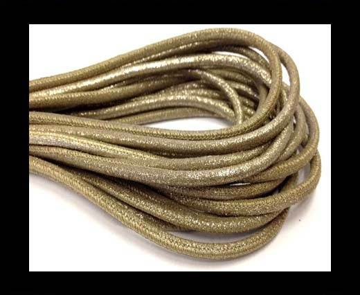 Buy Round stitched nappa leather cord 4mm-Multidot Gold at wholesale prices