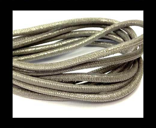 Buy Round stitched nappa leather cord 4mm-Multidot Grey at wholesale prices
