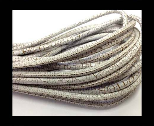 Buy Round stitched nappa leather cord 4mm-Crack White at wholesale prices