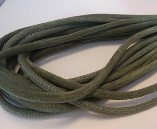 Round stitched nappa leather cord Asparagus-6mm