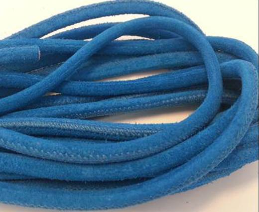 Round stitched nappa leather cord Bermuda Blue-6mm