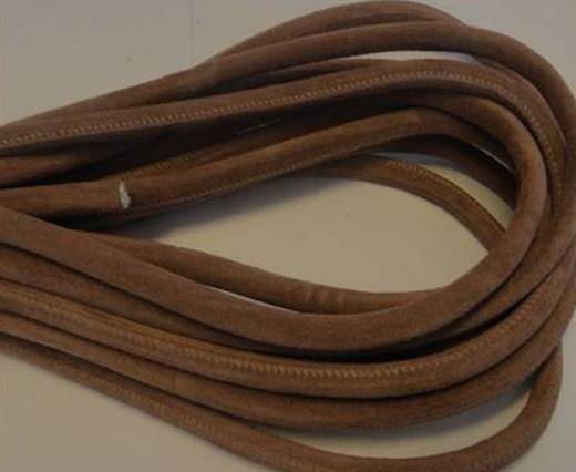 Buy Round stitched nappa leather cord Light Brown-4mm at wholesale prices