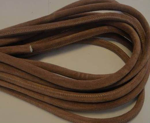 Round stitched nappa leather cord Suede Round-Light Brown-6mm