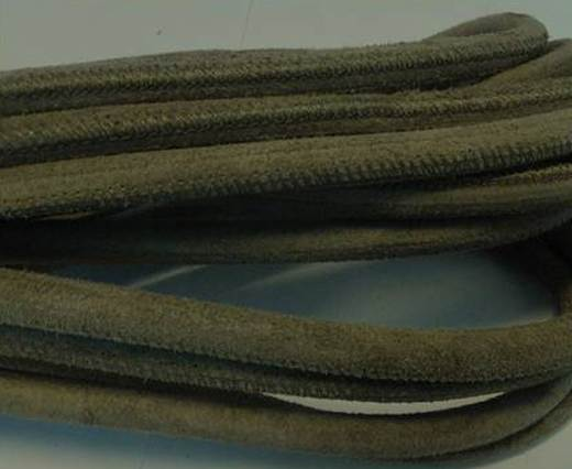 Buy Round stitched nappa leather cord Olive Green-4mm at wholesale prices
