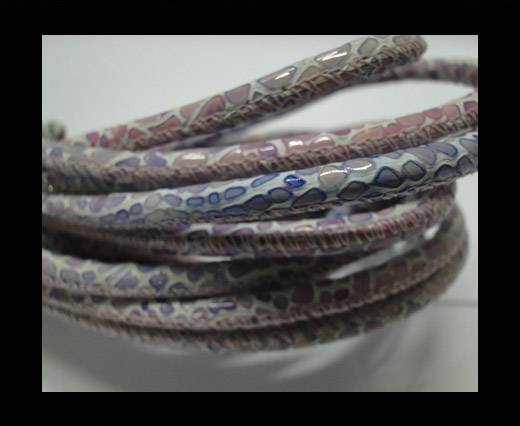 Buy Round stitched nappa leather cord 4 mm - Breed style - Pink at wholesale prices
