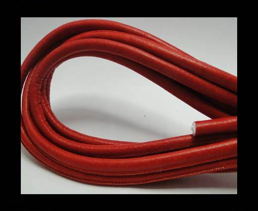 Round stitched nappa leather cord  Malboro Red - 8mm