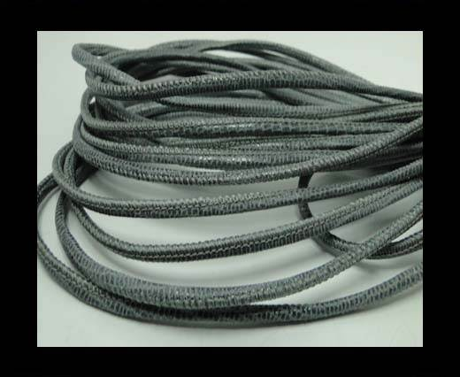 Round stitched nappa leather cord Lizard Prints-Grey Lizard- 2.5m