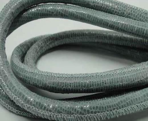 Round stitched nappa leather cord Lizard Prints -Grey Print Lizar