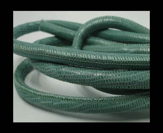 Round stitched nappa leather cord Lizard Prints -Mint Lizard- 6mm