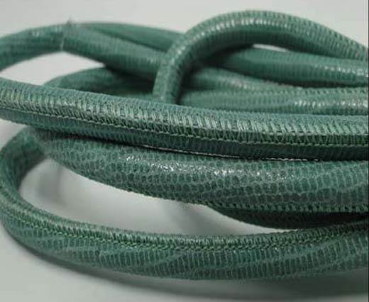 Buy Round stitched nappa leather cord Lizard Prints -Mint Lizard- 6mm at wholesale prices