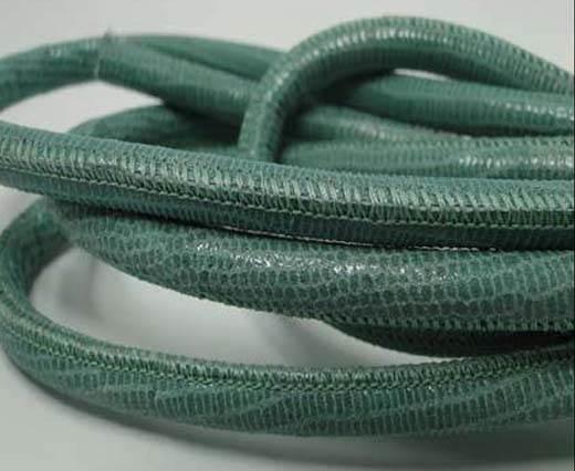 Round stitched nappa leather cord Lizard Prints -Mint Lizard- 6mm