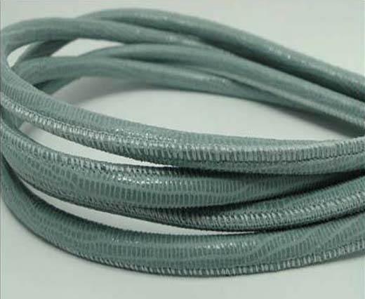 Round stitched nappa leather cord Lizard Prints -Pastel Blue Liza