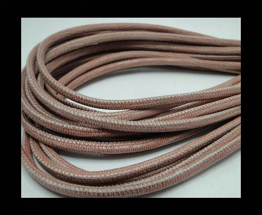 Real Round Nappa Leather cords-Lizard Prints-Salmon Lizard- 4mm