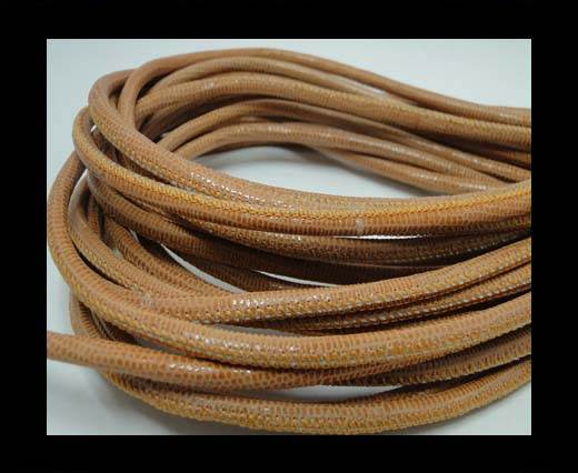 Real Round Nappa Leather cords-Lizard Prints-Orange Lizard- 4mm