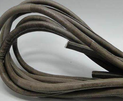 Round stitched nappa leather cord Taupe - 8mm
