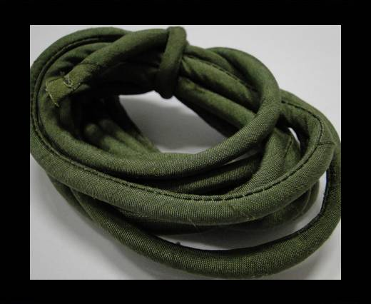 Real silk cords with inserts - 4 mm - Sap Green